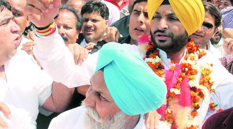 Congress candidate Ravneet Singh Bittu  in Ludhiana on Monday. (Photo: Gurmeet Singh)