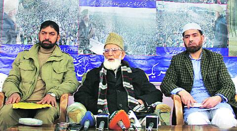 Geelani (centre) on Friday.SHUAIB MASOODI