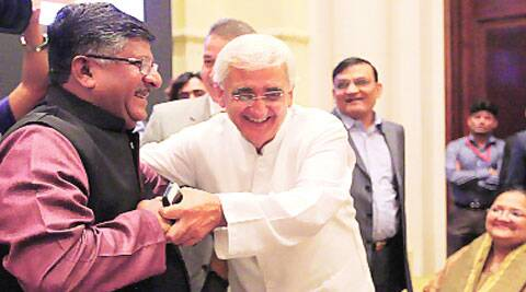 Ravi Shankar Prasad and Salman Khurshid at the book launch Monday. Tashi Tobgyal
