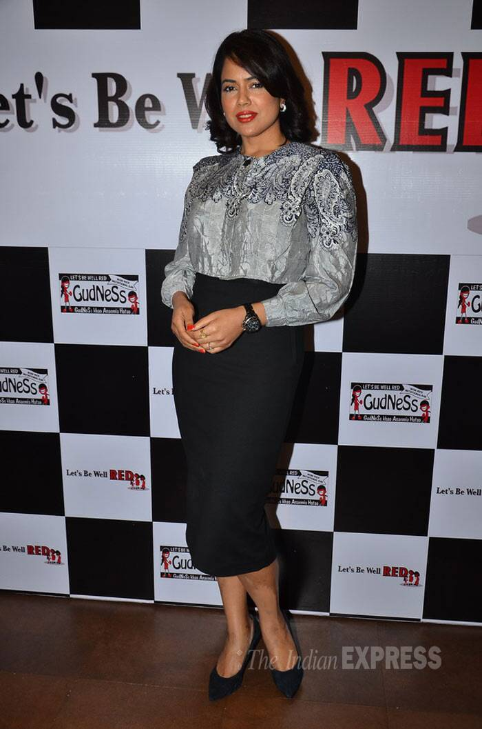 Actress Sameera Reddy was chic in a long-sleeved blouse and pencil skirt. (Photo: Varinder Chawla)
