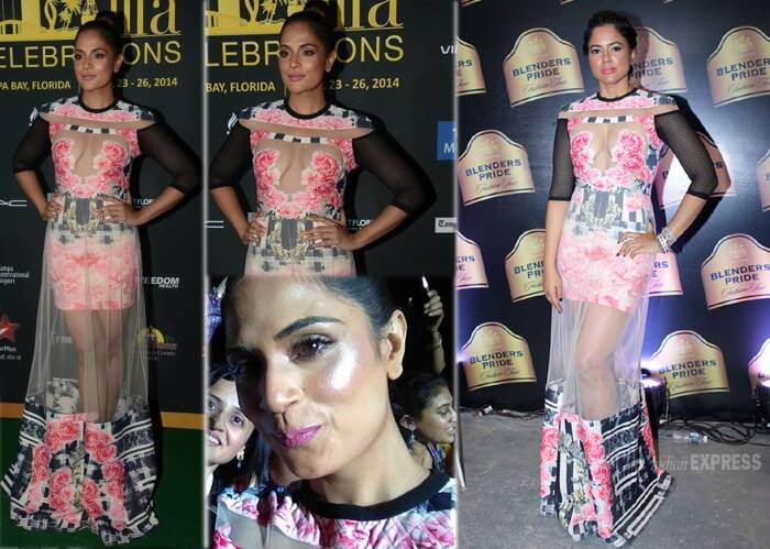 'Fukrey' actress Richa Chadda took a leaf out of Sameera Reddy's (style) book as she sashayed down the green carpet in a risque Falguni And Shane Peacock outfit at IIFA awards held in Tampa Bay, Florida.<br /> Richa borrowed Sameera's Blenders Pride Fashion Tour 2013 look almost completely with bright pink lips, he only difference being the top knot. (Photo: Twitter/Varinder Chawla)