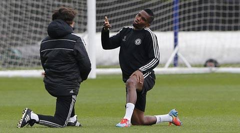 Samuel Eto'o training ahead of Tuesday's Champions League clash against PSG (Reuters)