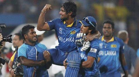 Kumar Sangakkara celebrates Sri Lanka's win over India in the World T20 final on Sunday. Sri Lanka chased down 131 in 17.5 overs to win their first World T20 title in three finals (AP)