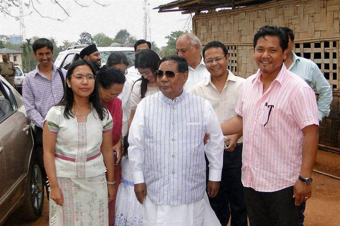 Sangma with daughter Agatha Sangma and other family members after casting votes at a polling station during the second phase of polling for Lok Sabha elections at Tura in Meghalaya on Wednesday. (PTI)