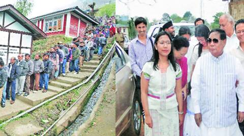 At a polling booth in Bomdila town of Arunachal Pradesh on Wednesday. (Right) NPP candidate P A Sangma with daughter Agatha and other family members after casting his vote, in Tura in Meghalaya on Wednesday. Reuters & PTI