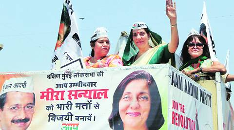 Meera Sanyal, whose AAP is a potential threat to Congress-NCP, campaigns Tuesday.Ganesh Shirsekar