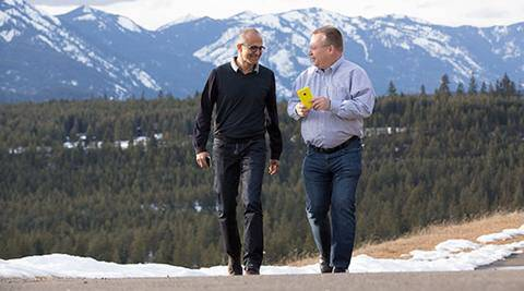 Microsoft CEO Satya Nadella (left) and executive vice president of Microsoft Devices Group Stephen Elop in a photograph released by Microsoft.
