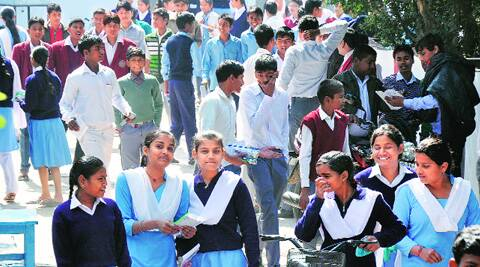 At a school in Lucknow on March 3, the first day of the UP Board exams this year. Over 71 lakh students sat for the Class X and XII exams in 2014. (Vishal Srivastav)