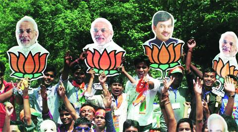 Posters of Narendra Modi and Shahnawaz Hussain at a rally in Bhagalpur, which votes April 24. Prashant Ravi