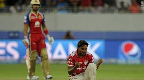 Sandeep Sharma is ecstatic after dismissing Virat Kohli in Dubai on Monday. Kohli, in fact, was Sandeep's second wicket of his first over, the first being Chris Gayle a couple of deliveries earlier. (BCCI/IPL)