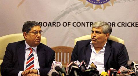 "Prior to attending the meeting Manohar had lashed out at N Srinivasan, who has been forced to step aside as the Board president, saying the Tamil Nadu strongman was ""shamelessly and stubbornly"" sticking to his post. (Reuters File)"