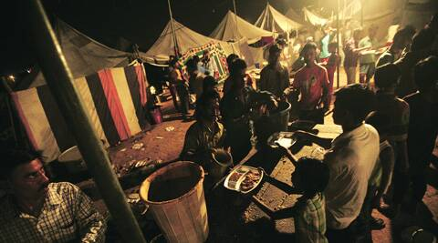 After a massive fire gutted their shanties, residents have taken shelter in tents in Vasant Kunj. (Praveen Khanna)