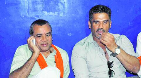 Bollywood Actor Sunil Shetty and Paresh Rawal during Rawal's poll campaign in Ahmedabad on Sunday. PTI