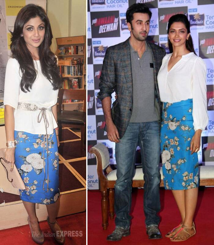 Both Deepika Padukone and Shilpa Shetty were spotted wearing a blue printed midi Zara skirt with white blouses. However, while Deepika chose to style it more casually with flats, Shilpa went chic in nude coloured heels.