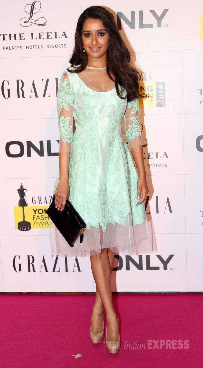 'Aashiqui 2' actress Shraddha Kapoor, who is gearing up for the release on 'Ek Villain',  was seen in a pastel Pankaj and Nidhi dress. She looked great in her mint coloured dress which she wore with nude Louboutins. (Photo: Varinder Chawla)