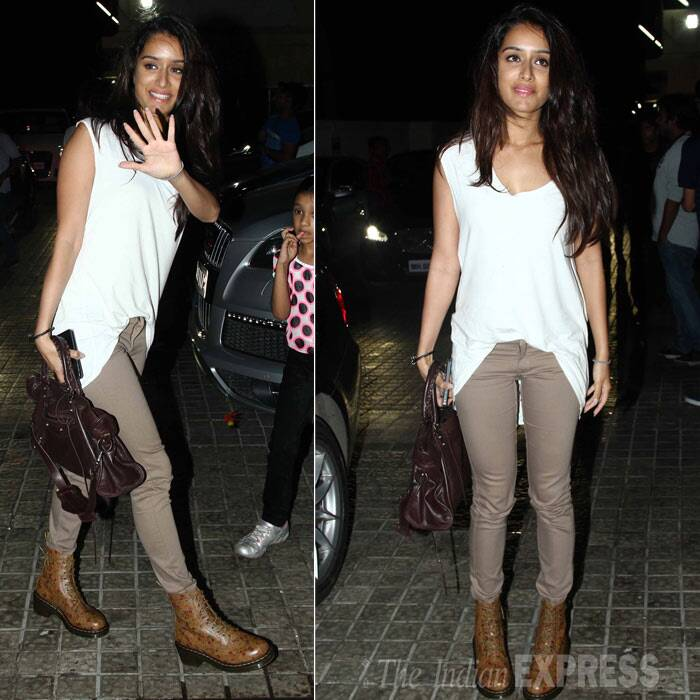 Shraddha Kapoor soon followed her beau looking hot in a white top and khaki colored skinnys. (Photo: Varinder Chawla)