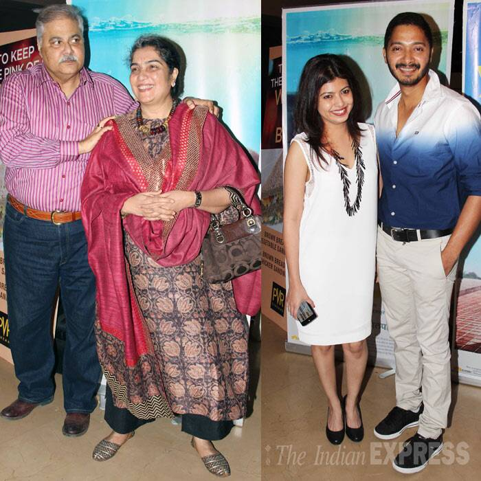 Funnyman Satish Shah with his wife Madhu and Shreyas Talpade with his wife Deepti. (Photo: Varinder Chawla)