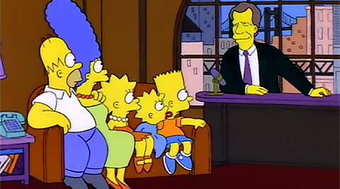 In a sequence, Homer and his family make their way to 'Late Show with David Letterman'.