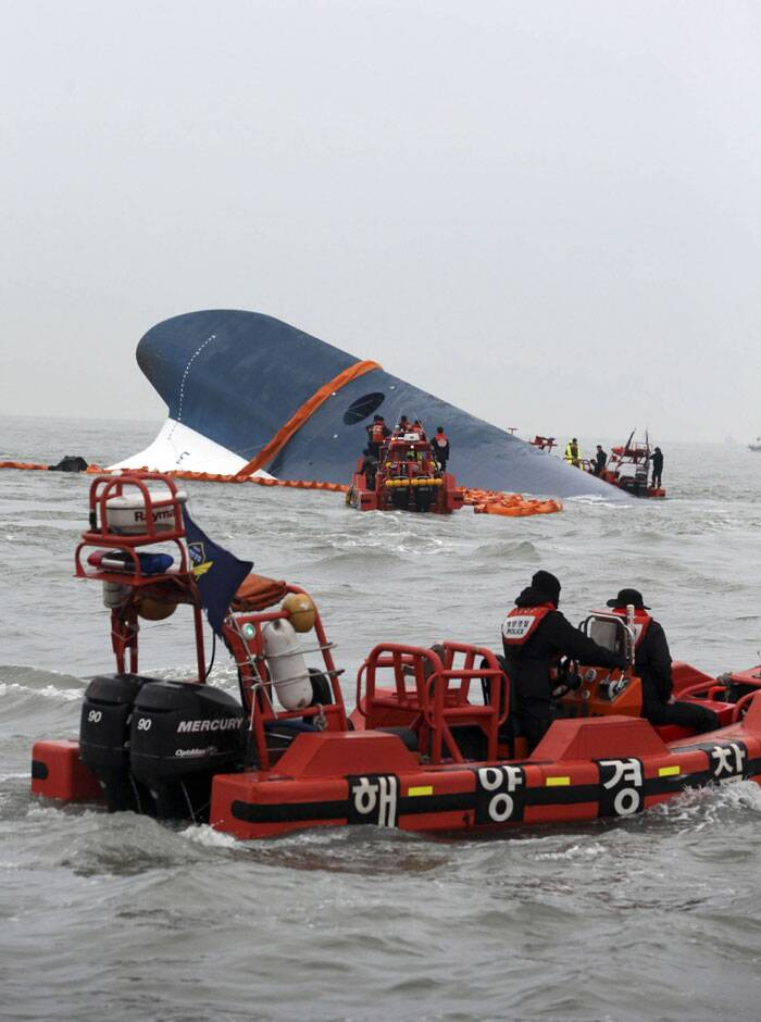 There were 500 people aboard, and some of the frantic parents of the 325 student passengers who had been heading to Jeju island for a four-day trip gathered at Danwon High School in Ansan, which is near Seoul, and on Jindo, an island near where the ferry slipped beneath the surface until only the blue-tipped, forward edge of the keel was visible. (AP)