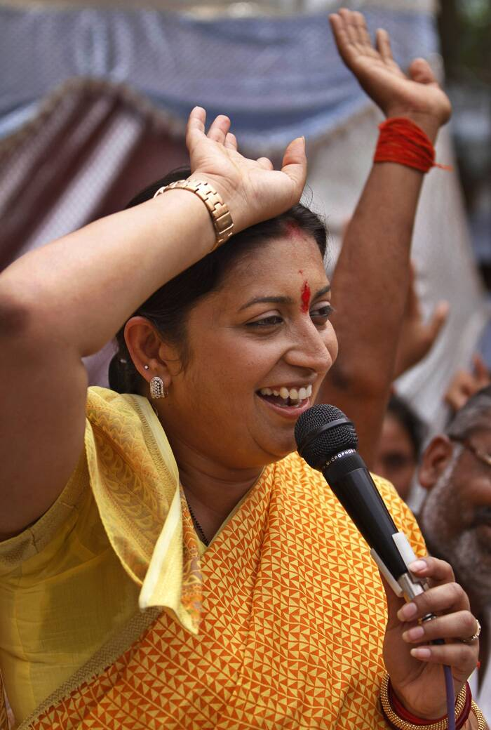 Television actress-turned politician and BJP candidate Smriti Irani was seen in an election rally in Amethi. (AP)