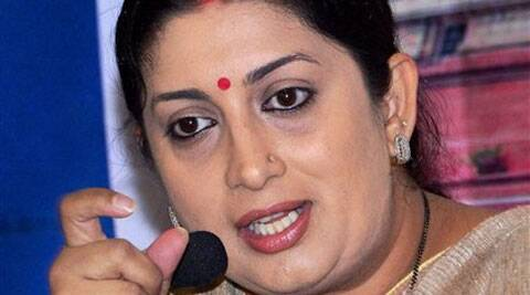 Irani, who will be addressing 22 nukkad sabhas in the day, was accorded a warm welcome by party workers. (PTI)