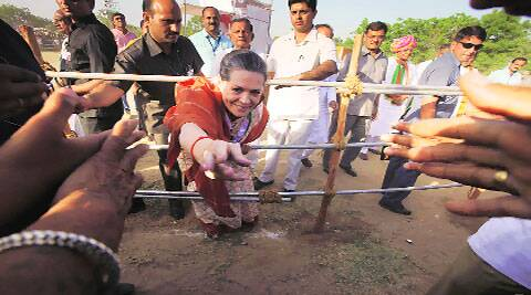 Sonia Gandhi at Kheralu, Gujarat, on Thursday.