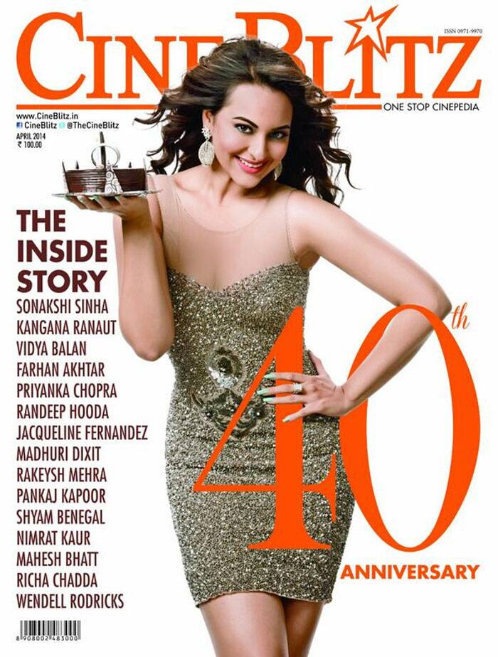 Bollywood's 'Dabangg' girl Sonakshi Sinha looks stunning as she graces the cover of CineBlitz's 40th anniversary edition. Sonakshi is seen flaunting her well toned figure in a golden shimmery short dress with a yummy chocolate cake in hand.
