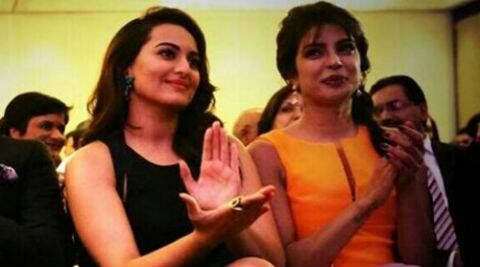 ictures of Priyanka and Sonakshi giggling together on stage are doing the rounds on Twitter. (Photo: Twitter)