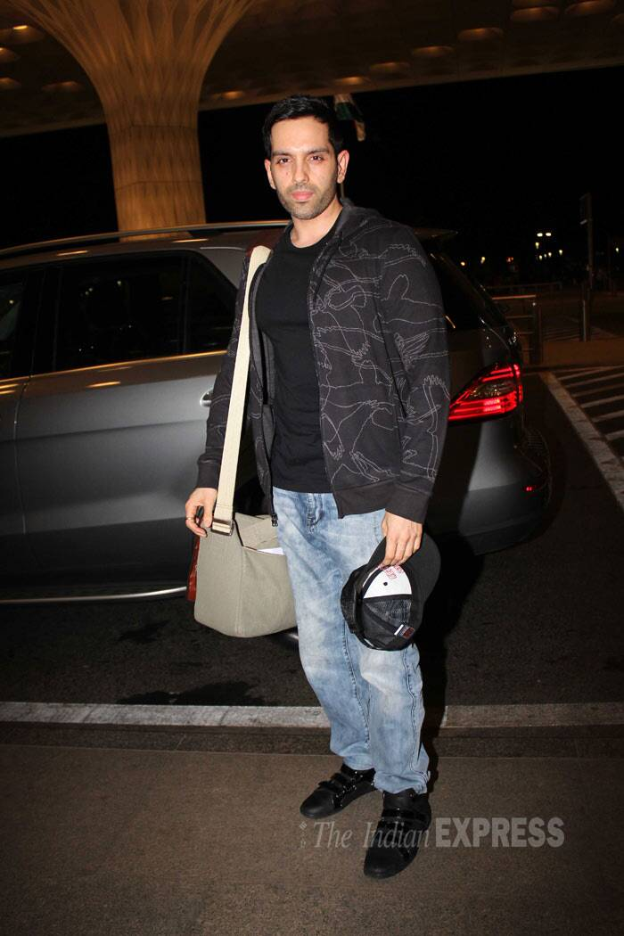 Sonakshi Sinha's brother Luv posed sans a smile in a black tee shirt, jacket and denims. (Photo: Varinder Singh)