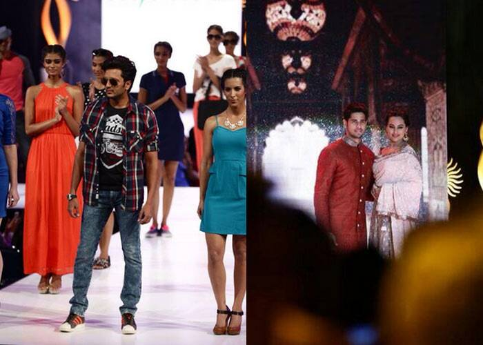 Riteish walked the ramp for a shopping website while Sonakshi Sinha and Sidharth Malhotra looked lovely and graceful together in Indian wear as they walked for Vikram Phadnis show. (Photo: twitter)