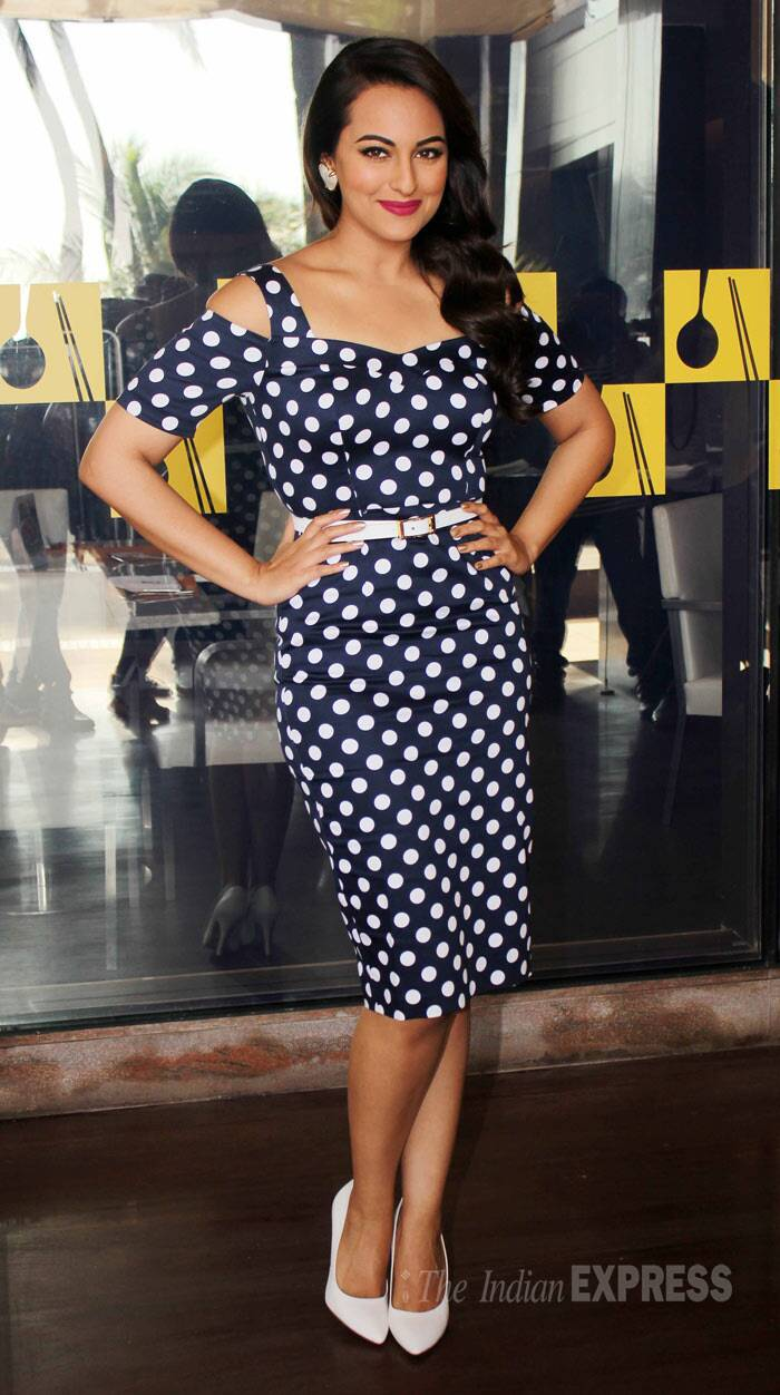 Meanwhile, Sonakshi Sinha was a stunner in a polka-dotted Asos number with white pointed pumps. (Photo: Varinder Chawla)