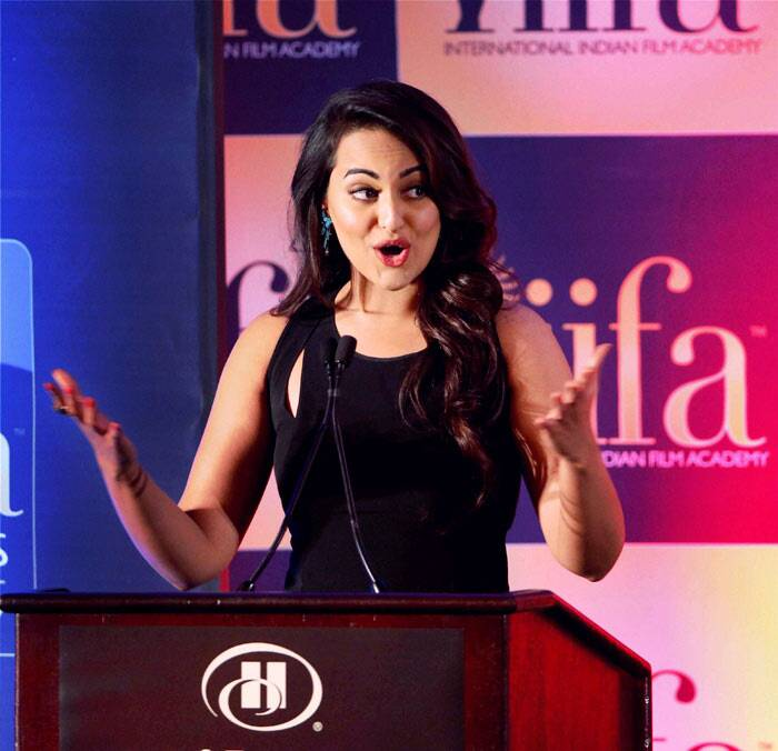 Sonakshi photographed speaking animatedly at the conference. (PTI)