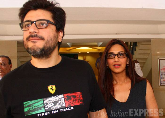 Sonali Bendre arrived with husband Goldie Behl. (IE Photo: Amit Chakravarty)