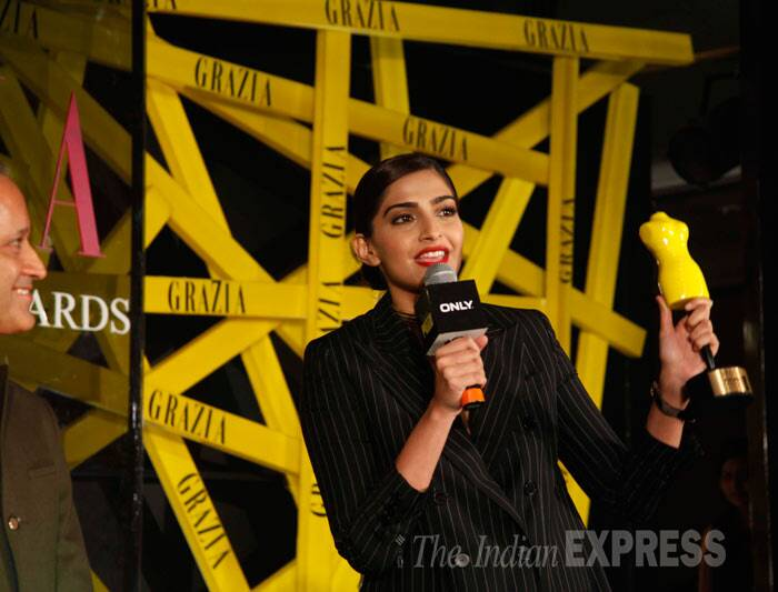 Sonam Kapoor receives the Grazia Cover Girl of the Year award. (Photo: Varinder Chawla)