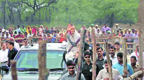 Sonia waves to supporters after a rally in Amethi on Saturday.  (Photo: Oinam Anand)