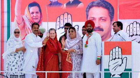 Congress President Sonia Gandhi during an election rally in Barnala on Saturday. (Photo: PTI)