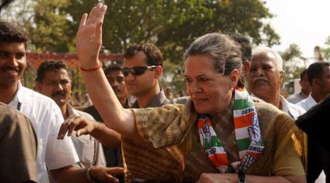 Congress President Sonia Gandhi meeting supporters during an election rally in Mysore on Wednesday. (PTI)
