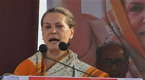 "Sonia lambasted Modi's ""false"" claims about Gujarat's development."