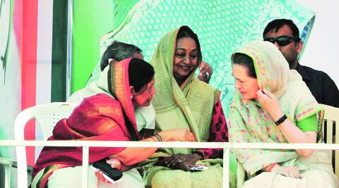 Sonia Gandhi with Sasaram candidate Meera Kumar and Karakat RJD nominee Kanti Singh on Thursday. (Prashant Ravi)