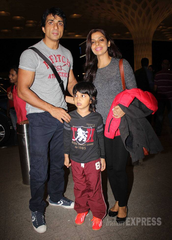 Muslce man Sonu Sood who will be seen in Farah Khan's 'Happy New Year' was accompanied by his wife Sonali and their son. (Photo: Varinder Singh)