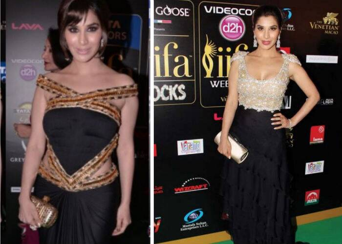Actress Sophie Choudry brought sexy back in a Cleopatra inspired gown by Raakesh Agarval at Macau. The sleek updo and metallic clutch were a good pick for the outfit. However, her IIFA Rocks outfit, a nude and black gown by Rocky S was a big win.