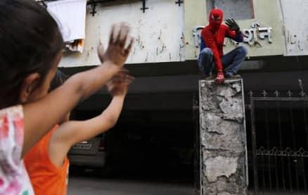 Spiderman woos voters in Mumbai
