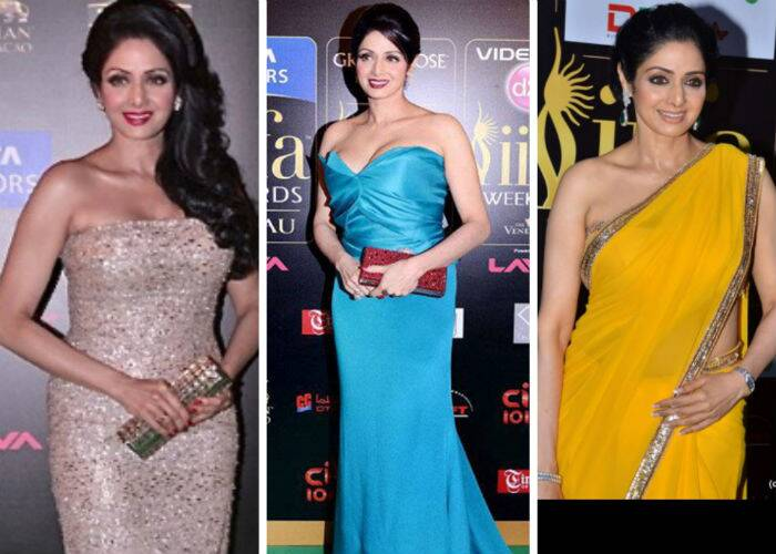 'English Vinglish' actress Sridevi was a stunner at Macau in a strapless KaufmanFranco gown. She accessorised her look with side-swept curls and a metallic clutch. <br /><br /> However, the IIFA Rocks night saw the actress in a teal coloured gown with maroon lips and a matching clutch. <br /><br /> At the 2012 IIFA awards, Sridevi shone in a bright yellow Manish Malhotra sari with a strapless blouse.