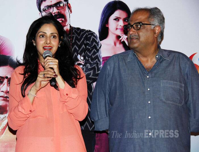 Sridevi takes the mic to say a few words. (Photo: Varinder Chawla)
