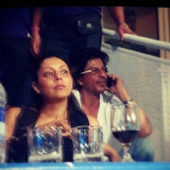 Shah Rukh Khan's wife Gauri was also seen the IPL 7 gala dinner held in Abu Dhabi on April 15. The mother of three looks calm as she watches the show while her hubby is busy over phone. (Photo: Facebook)<br /><br />Ahead: Shah Rukh Khan organises Virat Kohli's swayamvar