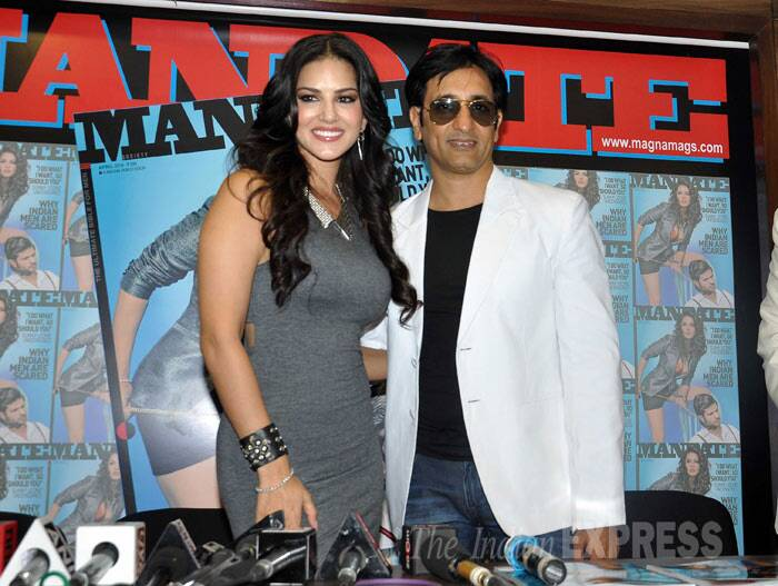 Former 'Bigg Boss' housemate Rajev Paul with Sunny Leone at the cover launch. (Photo: Varinder Chawla)