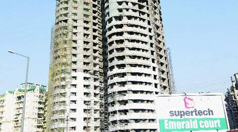 Construction at the two towers (T-16 and T-17) has been completed till the 21st and 17th storeys, respectively.(Gajendra Yadav)