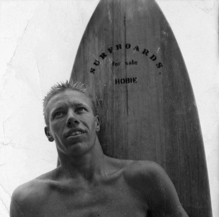 "In this undated black and white photo provided on Monday, March 31, 2014, by Hobie Designs, shows young Hobart ""Hobie"" Alter in Laguna Beach, Calif (AP)"