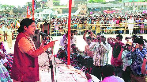 Sushma Swaraj adrdresses the rally in Madhubani. express