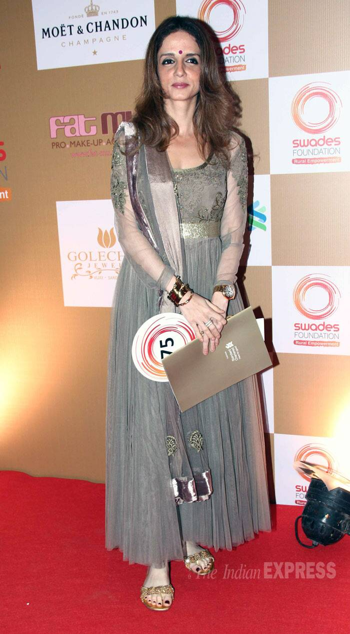 Hrithik Roshan's estranged wife Sussanne made a rare appearance in a grey-toned anarkali with gold sandals. (Photo: Varinder Chawla)